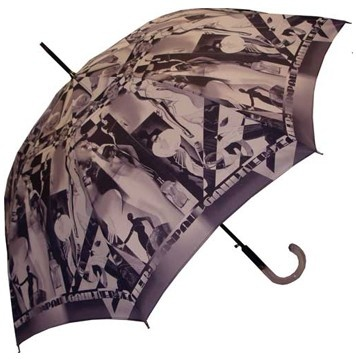 Jean Paul Gaultier Art Deco Umbrella  Featuring an all-over design of layered art deco inspired images. Curved two-tone acrylic handle, steel shaft and frame. Push button automatic opening and manual closing. Made in France.  CAD $175.00  Multi-Coloured - Grey  Multi-Coloured - Orange    http://www.raindropsto.com/umbrellas/designer-umbrellas/jean-paul-gaultier-art-deco-umbrella