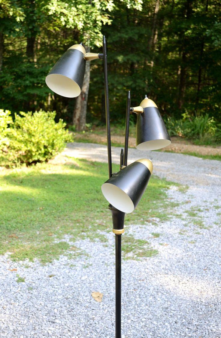 Mid Century Cone Shade Floor Lamp 3 Lights Black Gold