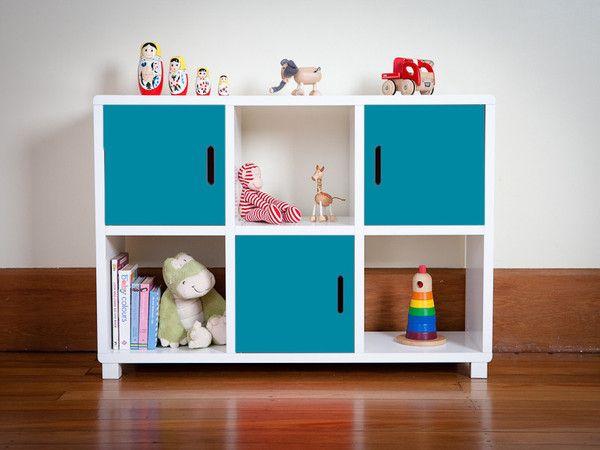 Storage Unit - Six Cubes Blue Doors