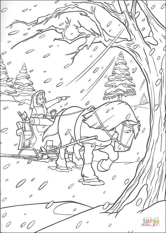 Horse And Carriage In Winter Coloring Page Free Printable Coloring Pages Horse Coloring Pages Belle Coloring Pages Coloring Pages
