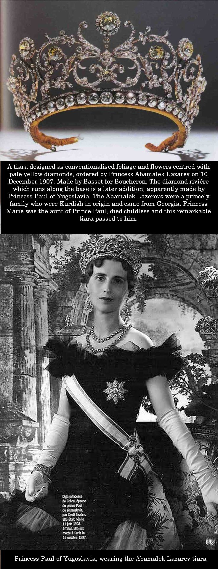 The Abamalek Lazarev tiara often wrongly attributed to Grand Duchess Vladimir