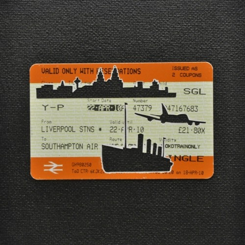 "Please Mind The Gap: Liverpool To Southampton Airport    Cut Out Train tickets on canvas  2011   5""x 4""    £90 including frame"