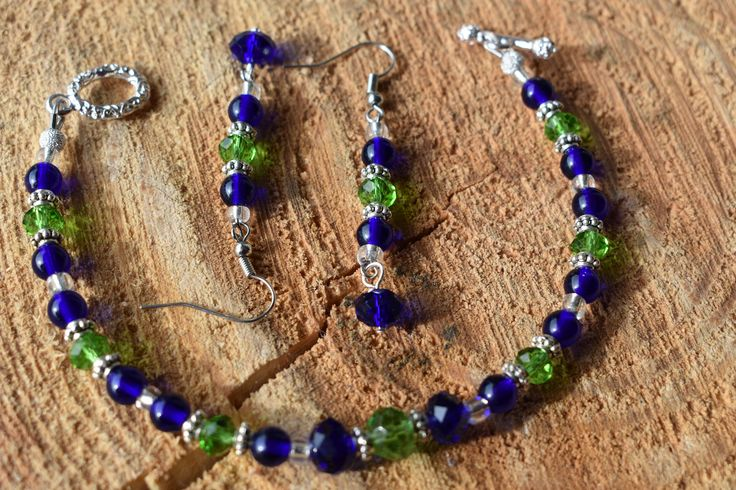 Seahawks Team colors Bracelet and Earrings set by MaidenMetalShop on Etsy
