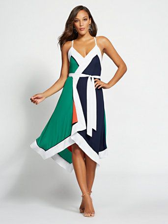 62adcb3be55 Shop Gabrielle Union Collection - Colorblock Wrap Dress. Find your perfect  size online at the best price at New York   Company.