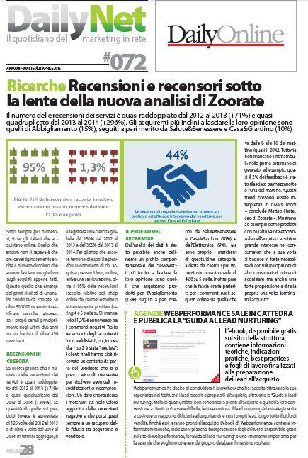 """""""Recensioni e recensori sotto la lente della nuova analisi di Zoorate"""" - DailyNet, 21 aprile 2015"""