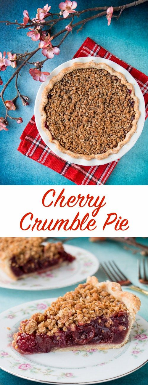 Enjoy this fabulous cherry pie all year round by using fresh, frozen or even jarred cherries with this easy and adaptable recipe. It's the best homemade cherry pie filling topped with a crunchy streusel topping and wrapped in a flaky pie crust. #cherrypie #cherrycrumblepie #sourcherrypie