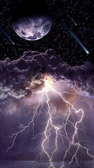 Moon Asteroids Storm Clouds Lightn