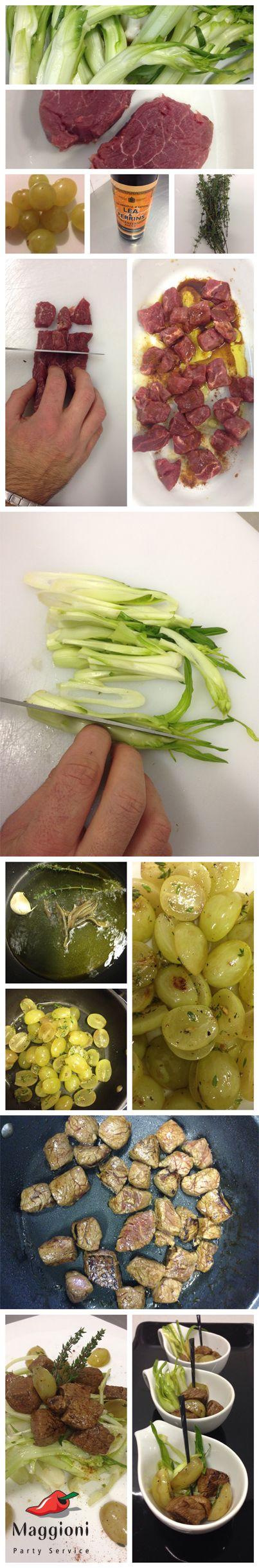 Questa settimana vi proponiamo una ricetta e due idee per presentarla sulla vostra tavola: insalatina croccante di puntarelle con filetto di manzo e uva tardiva profumata al timo