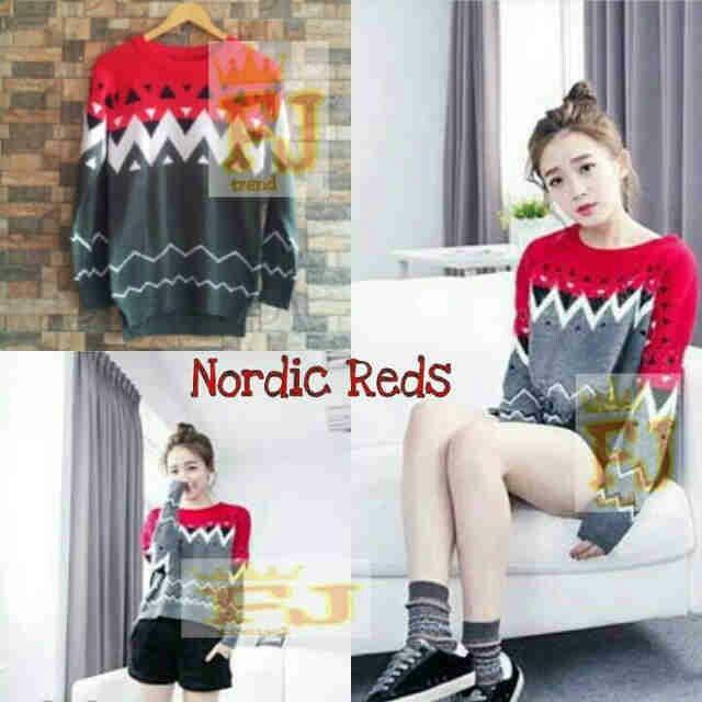 #grosirsweaterrajut NORDIC REDS, bahan rajut Hrg 39k www.ramailancar.com www.facebook.com/tokobajurajutmurah 0857 2212 6318