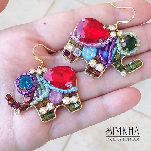 Earrings handmade. Livemaster - handmade. Buy Earrings, 'Elephants' 2 from the collection of 'Live Brightly' from Simkha.