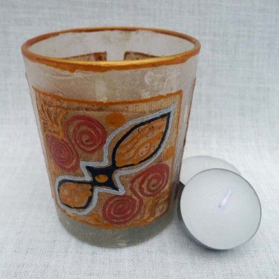 Tealight glass - design from recycled tea-bags