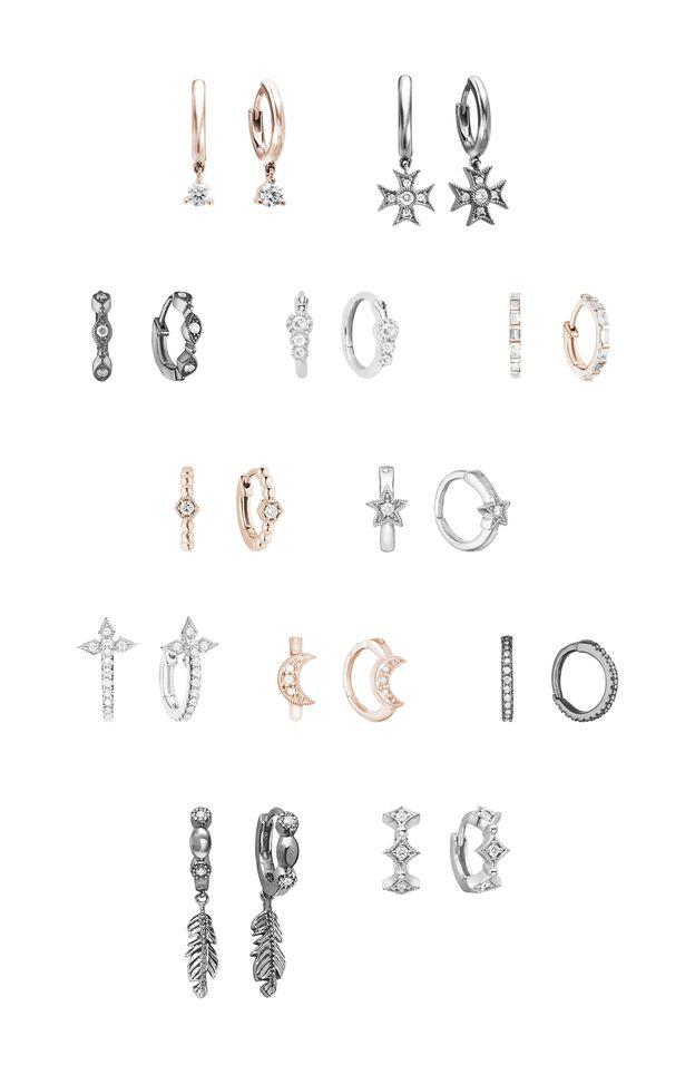 Stone Paris - Mini Créoles or blanc, or rose, or noir et diamants