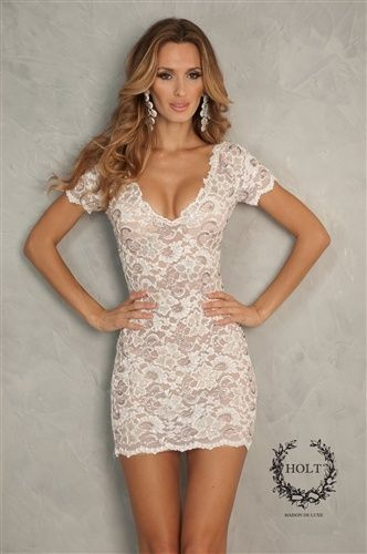 Holt Dresses! White short sleeve lace dress. This would be so cute for rehersal dinner or bachelorette!