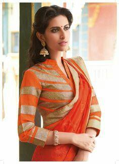 Collared saree blouse design concept