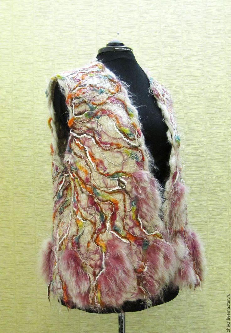 Купить Жилет Степной ветер 4 - абстрактный, шерсть, мохер, жилет, смешанная техника