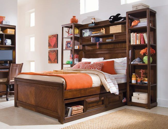 headboard with storages that is accessible from the front on the other hand offers - Bookshelf Bed Frame