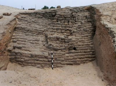 Excavation uncovers ancient town in northern Egypt.  The mission discovered a 4 meter high Hyksos era mud-brick defence structure beside the ruins of residential structures to the north east of Tell Al Yahodiya [Credit: Luxor Times]