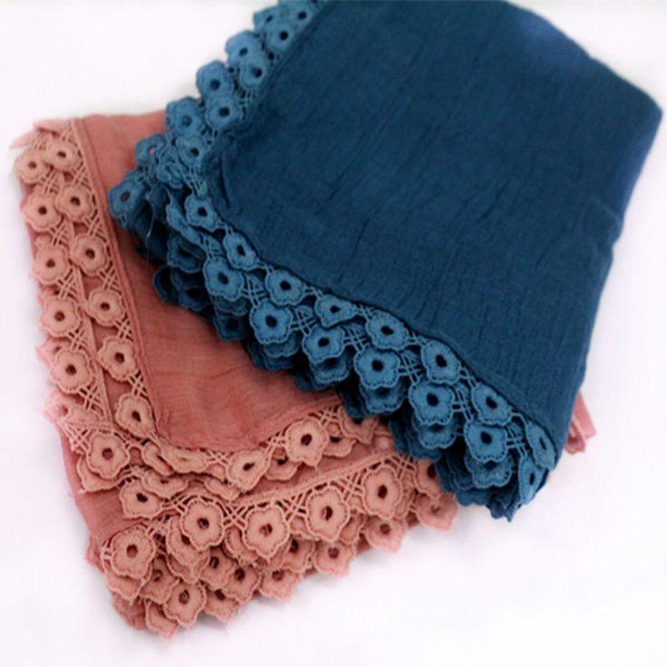 New Luxury embroidery lace Flowers borders scarf women cotton viscose shawls soild plain embroider scarfs muslim tassels hijabs