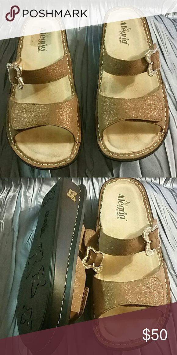 SOLD - Alegria Sandal Like New.  Gorgeous brown metallic Sandal with butterfly stoned buckle. Alegria Shoes Sandals