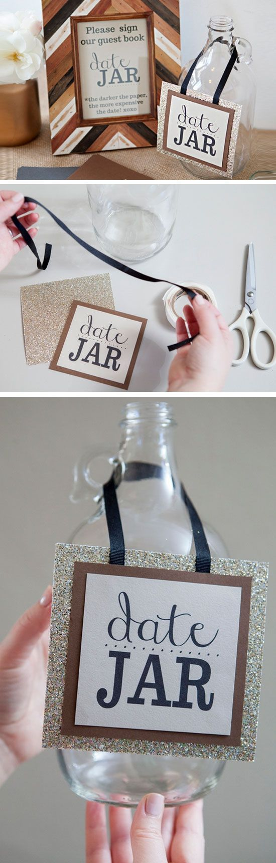 Date Jar Guest Book | Click Pic for 18 DIY Date Night in a Jar Ideas | Creative Valentines Day Gifts for Him