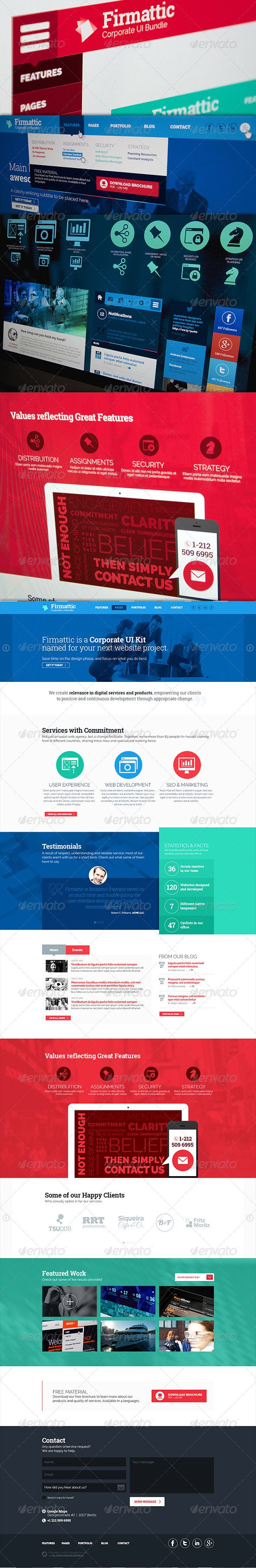 Corporate Flat UI Bundle - Website and Elements  #GraphicRiver         Firmattic is an User Interface (UI) Bundle named for your next corporate web project.  	 Contains a long website proposal in regular size and in retina (@2x) size.  	 It also contains an huge long UI Bundle psd file, with elements such as vector icons, graphic elements, featured box proposals, calendar, tags, social network and other buttons. This psd is also made in a regular and retina (@2x) size.  	 • 4 PSD files •…