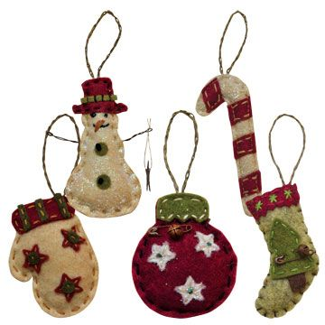 Mini Felt Christmas Ornaments - 5/set - Kruenpeeper Creek Country Gifts