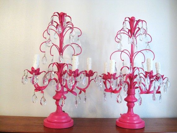 89 best pink lampschandeliers images on pinterest chandeliers so over the top fabulous i dont even mind the pink chandelier table lampmini chandeliertable mozeypictures Choice Image