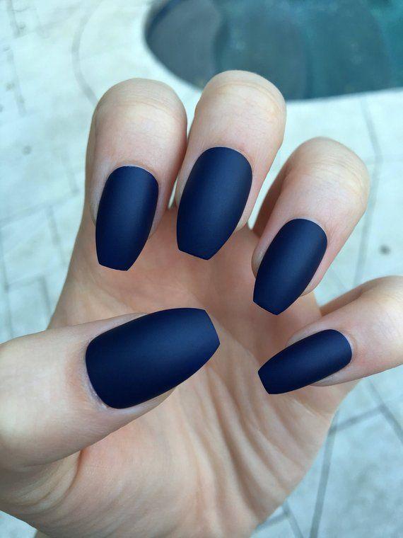 Matte Nails Stiletto Nails Navy Blue Fake Nails Blue Matte