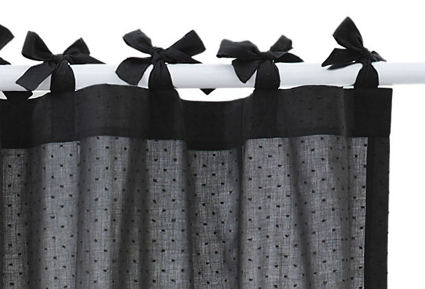 COYUCHI  Swiss Dot Shower CurtainCurtains Ties, Bows Shower, Dots Shower, Curtains Rods, Swiss Dots, Charcoal Shower Curtains, Coyuchi Swiss, Curtains Ideas, Gray Curtains