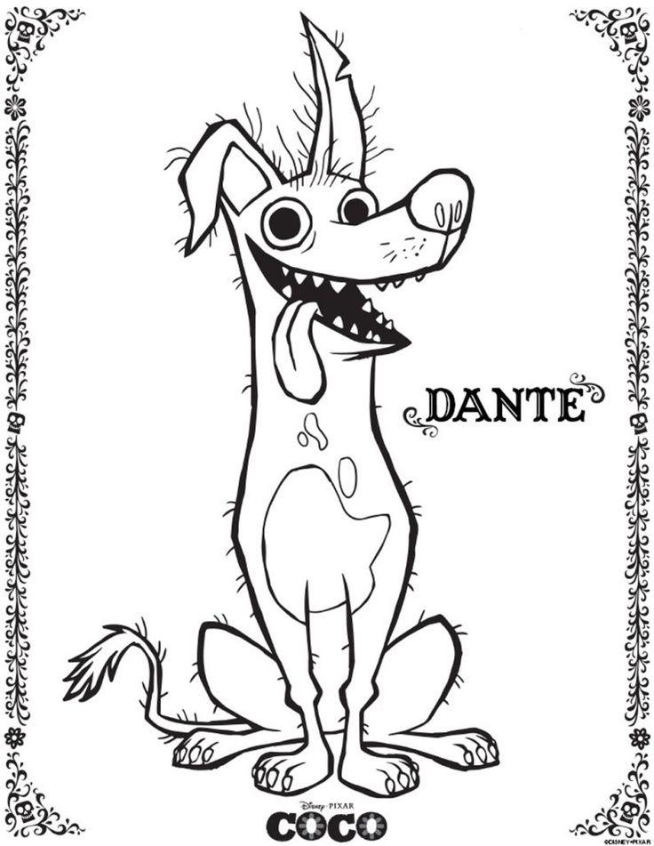 Imagen de Dante perro de coco pelicula de Disney Pixar para colorear imprimir pintar dibujar adornar