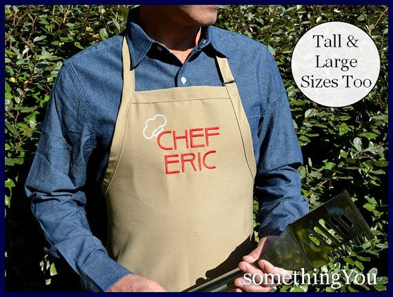 Large Sized Chef and Name Men's Apron  Chef by SomethingYouAprons, $29.95