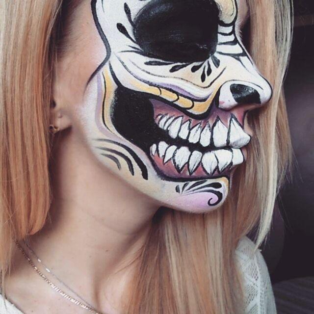 #facepainting #ronniemena #wrocław #makeupartist #skull #diamondfx #snazaroofacepaint