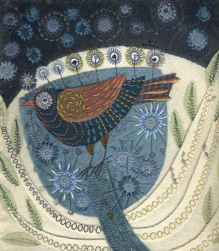 Nancy Nicholson -- Love this piece. While I enjoy the look of 'the blues' and the texture of the fabrics chosen, I think a different hue could have been used for the upper blue that will have allowed the beautiful bird to pop. Love the bird.