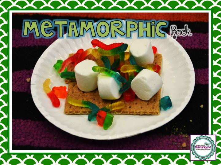 3 types of rock with food!  Geology Kitchen on youtube -- Sedimentary: rice crispy & M/Skittle? Metamorphic: gram cracker, gummy worms, marsh-mellows, Igneous: chocolate syrup frozen on ice cream -- so cool!  (2nd Grade Shenanigans)