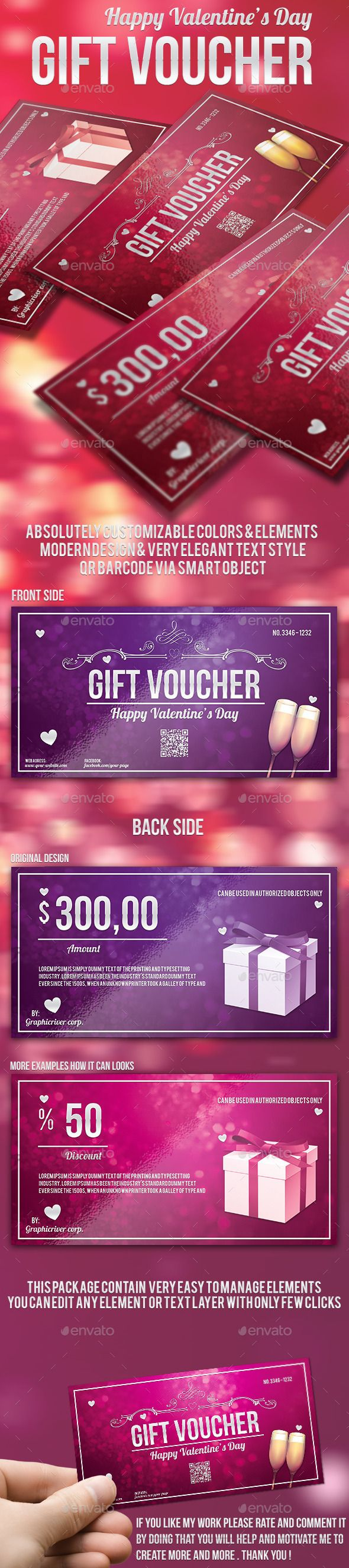 Valentine's Day Gift Voucher Template PSD | Download: http://graphicriver.net/item/valentines-day-gift-voucher/10010177?ref=ksioks