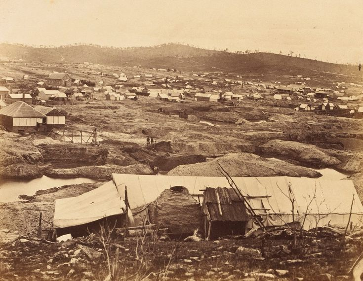 Castlemaine in Victoria, Australia in the 1800's gold rush diggings. v@e.