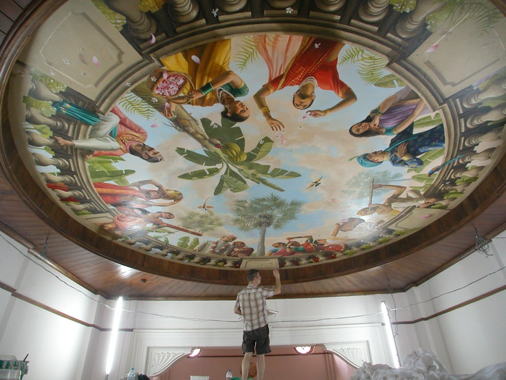 Adding the final touches to a ceiling #mural in Sri Lanka