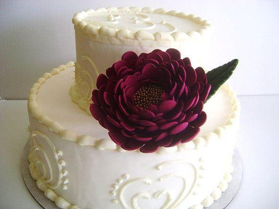 Burgundy Peony Wedding Cake Flower Cake Topper Cake by parsi