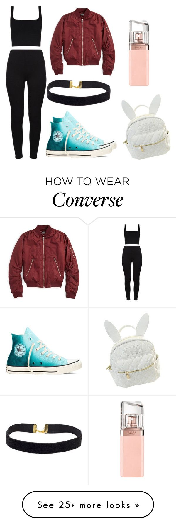 """""""Untitled #354"""" by sannasprofil on Polyvore featuring Converse, Topshop, cutekawaii and HUGO"""