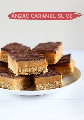 ANZAC Caramel Slice - Layers of ANZAC Biscuit, gooey caramel and dark chocolate make this the perfect dessert for ANZAC Day!