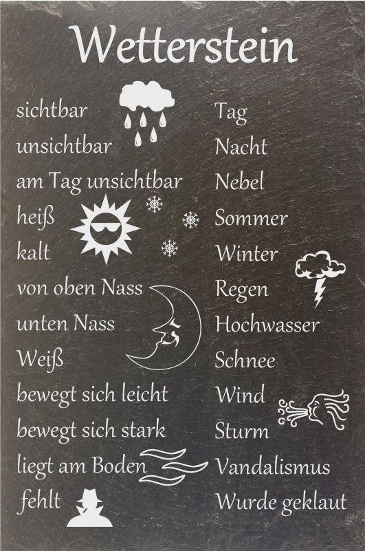 """Schiefer Wetterstein Wetterstation Wetterschild """"Stein wech"""" Schild Wunsch de.picclick.com"""