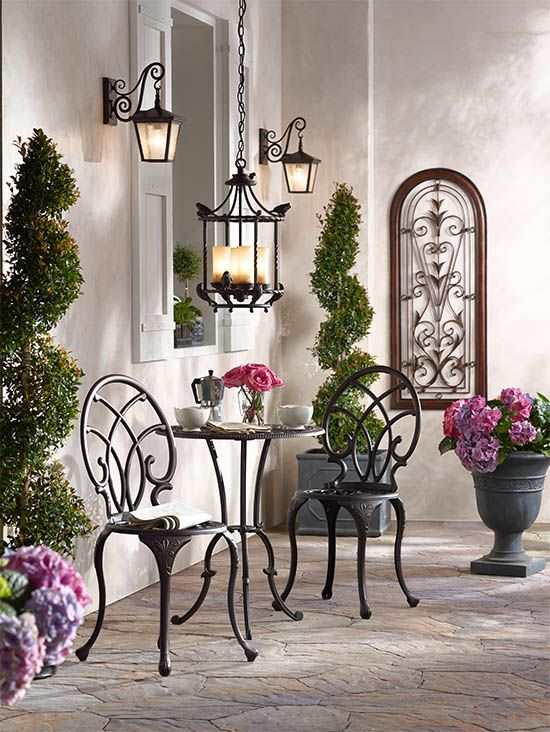 Outdoor bistro set with vintage style outdoor pendant and wall lights and…@lampsplus