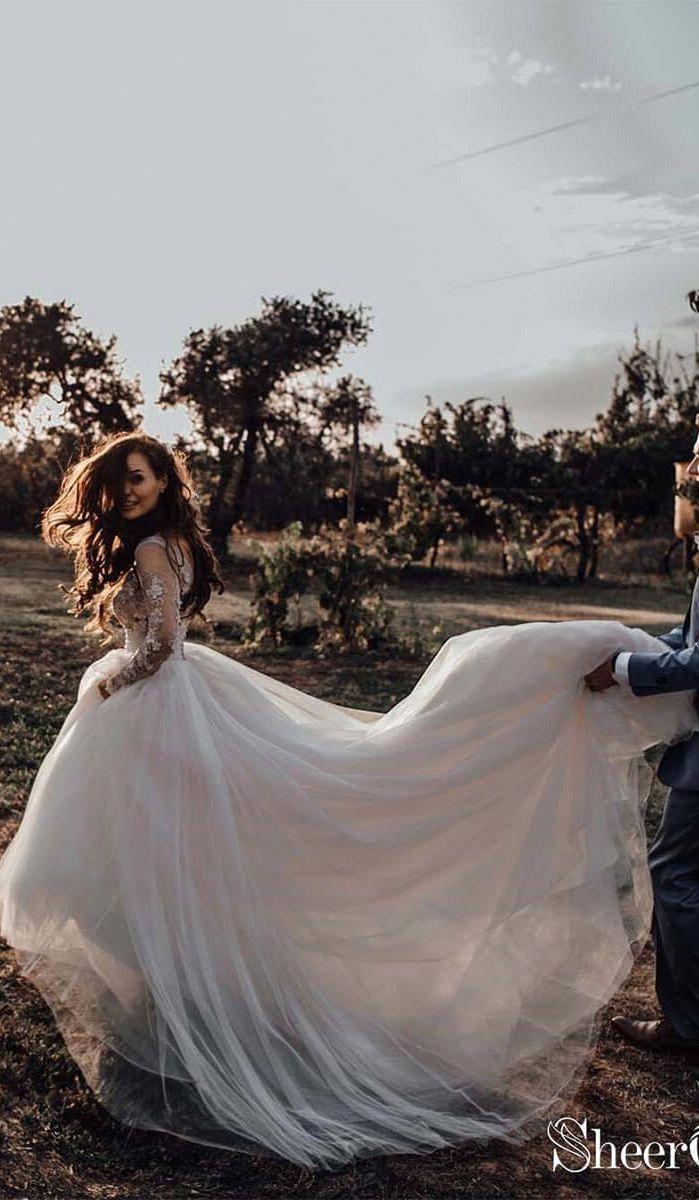 Save Big Wedding Inspo Long Sleeve Wedding Dress Boho Lace