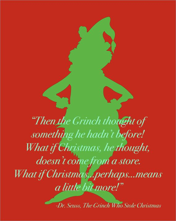 Dr. Seuss Grinch Stole Christmas Quote Silhouette | Books Worth ...