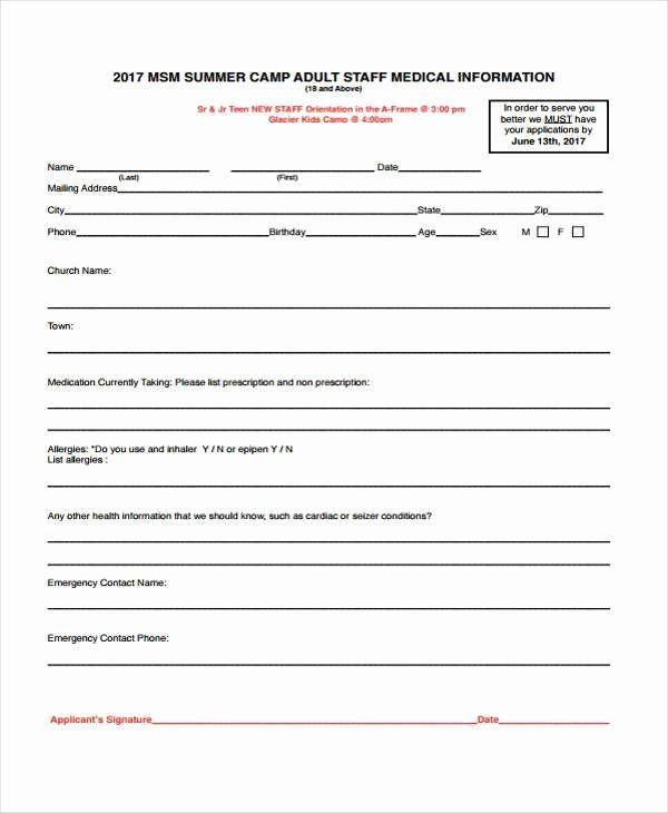 Emergency Medical Information Form Template Awesome Medical Form Templates Medical Information Emergency Medical Emergency Response Plan