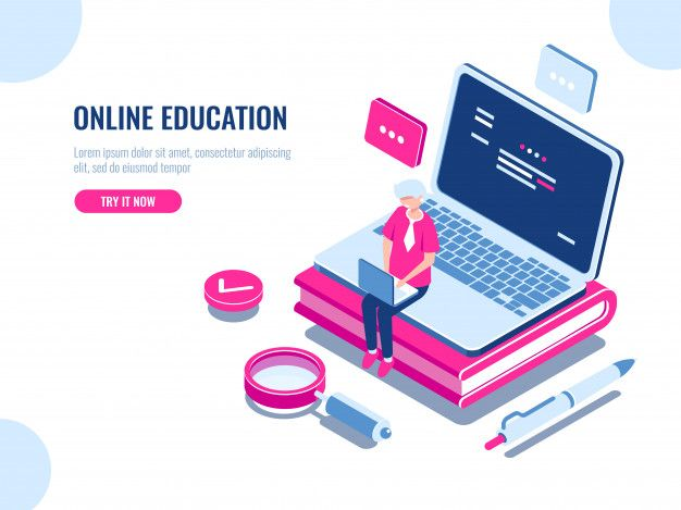 Download Online Education Isometric Concept Laptop On Book