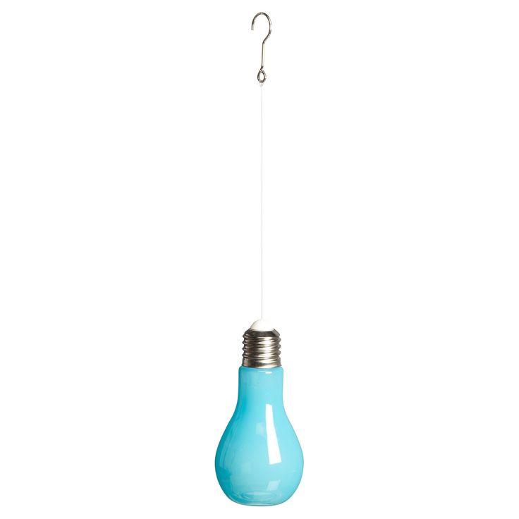 Glazen decoratielamp voor zowel binnen als buiten. Kleur: blauw. 19 cm hoog. Verkrijbaar in diverse kleuren. #LenteKwantum #buitenverlichting #verlichting #tuin