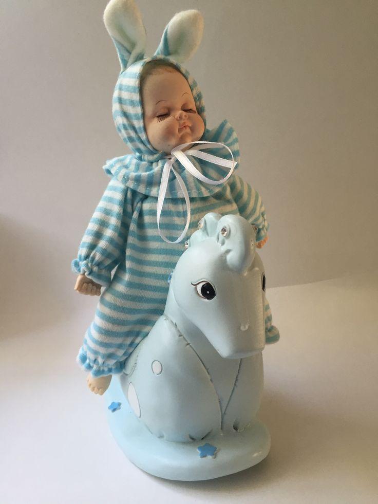Muziekdoos baby #keramiek Kraamkado #kraamcadeau #baby #babykado #geboortekado #babykamer #babyshower op www.hummelkado.nl