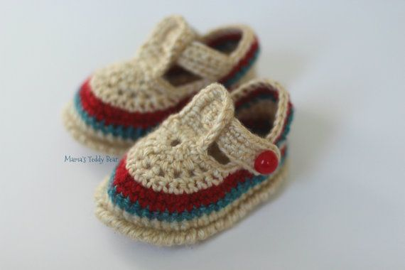 Uncinetto beige bambino sandali  0-3 mesi  di MamasTeddyBear