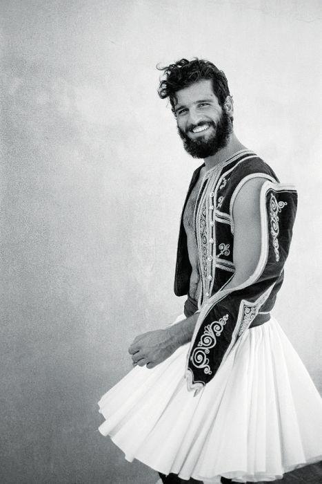 Modern take on traditional Greek folk costume.